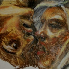 First Kiss - 41cm, 31cm, oil pastel on paper