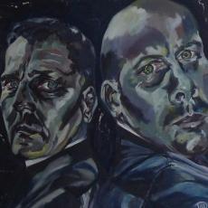 Soho Priests - 100cm, 100cm, oil on canvas