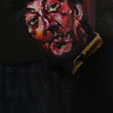 "Stephen Fry - 91cm, 61cm, oil on canvas. ""You're incredibly talented and I am SO touched to be your subject, Love it!"""