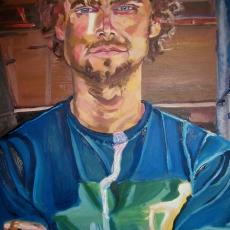 Street Artist - 105cm, 71cm, oil on canvas